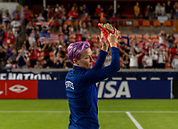 HOUSTON, TX - JUNE 10: Megan Rapinoe #15 of the USWNT salutes the fans after a game between Portugal and USWNT at BBVA Stadium on June 10, 2021 in Houston, Texas.