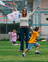 Kids took the kites they made at OB Recreation Center and flew them at the OB Elementary playground across the street during the 60th annual Ocean Beach Kite Festival, Craft Fair and Parade on Saturday, March 1, 2008.