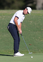 17th October 2020; Richmond, Virginia, USA; Mike Weir taps in a short putt on the 18th green during the Dominion Energy Charity Classic on October 17, 2020, at The Country Club of Virginia James River Course in Richmond