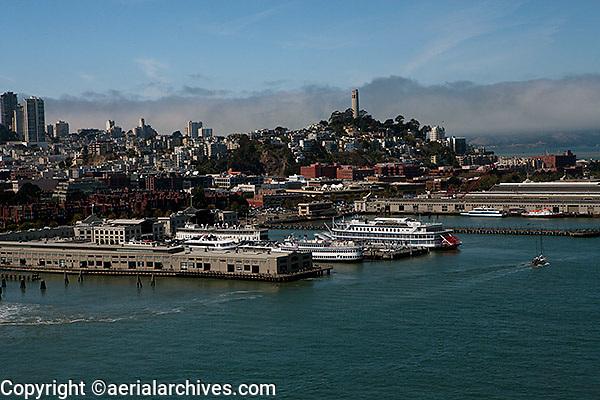 aerial photograph Coit Tower, piers, San Francisco, California