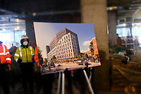 NEW YORK, NEW YORK- FEBRUARY 22, 2021: A rendering of the new building at the topping off ceremony for a 100 percent affordable housing project in the downtown section of Far Rockaway, Queens on February 22, 2021 in New York City.   Photo Credit: mpi43/MediaPunch