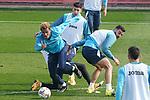 Getafe CF's John Joe Patrick, Mathias Olivera and Juan Antonio Iglesias during training session. February 17, 2021.(ALTERPHOTOS/Acero)