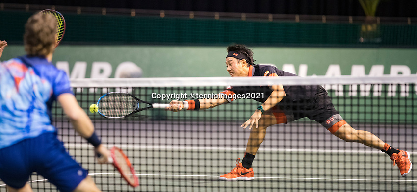 Rotterdam, The Netherlands, 2 march  2021, ABNAMRO World Tennis Tournament, Ahoy, First round doubles: Kei Nishikori (JPN) / Ben Mclachlan (JPN) vs. Wesley Koolhof (NED) / Lukasz Kubot (POL).<br /> Photo: www.tennisimages.com/