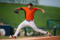 Frederick Keys starting pitcher Zac Lowther (24) delivers a pitch during the first game of a doubleheader against the Lynchburg Hillcats on June 13, 2018 at Nymeo Field at Harry Grove Stadium in Frederick, Maryland.  Frederick defeated Lynchburg 3-0.  (Mike Janes/Four Seam Images)