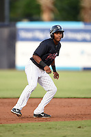 Tampa Yankees outfielder Ericson Leonora (20) leads off second during a game against the Daytona Tortugas on April 24, 2015 at George M. Steinbrenner Field in Tampa, Florida.  Tampa defeated Daytona 12-7.  (Mike Janes/Four Seam Images)