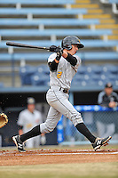 West Virginia Power designated hitter Michael Fransoso #2 swings at a pitch during game one of a double header against the Asheville Tourists at McCormick Field on April 8, 2014 in Asheville, North Carolina. The Power defeated the Tourists 6-5. (Tony Farlow/Four Seam Images)