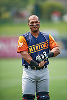 Carlos Pèrez (3) of the Las Vegas Aviators before the game against the Salt Lake Bees at Smith's Ballpark on July 25, 2021 in Salt Lake City, Utah. The Aviators defeated the Bees 10-6. (Stephen Smith/Four Seam Images)