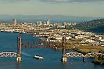 Aerial View of a Railroad Bridge in Portland, Oregon