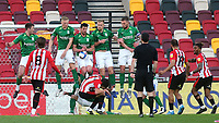 A free-kick from Brentford's Bryan Mbeumo is blocked by Birmingham's Lukas Jutkiewicz during Brentford vs Birmingham City, Sky Bet EFL Championship Football at the Brentford Community Stadium on 6th April 2021