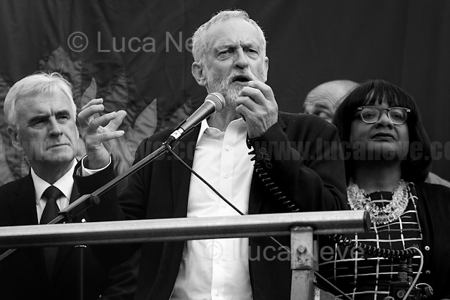 """(From L to R) John McDonnell MP (Labour Member of Parliament for Hayes and Harlington and Shadow Chancellor), Jeremy Corbyn MP (British Labour Party Leader and Member of Parliament for Islington North) & Diane Abbott MP (British Labour Member of Parliament for Hackney North and Stoke Newington, new Shadow Health Secretary).<br /> <br /> 27.06.2016 - """"Keep Corbyn - Rally in Parliament Square"""".<br /> <br /> London, March-July 2016. Reporting the EU Referendum 2016 (Campaign, result and outcomes) observed through the eyes (and the lenses) of an Italian freelance photojournalist (UK and IFJ Press Cards holder) based in the British Capital with no """"press accreditation"""" and no timetable of the main political parties' events in support of the RemaIN Campaign or the Leave the EU Campaign.<br /> On the 23rd of June 2016 the British people voted in the EU Referendum... (Please find the caption on PDF at the beginning of the Reportage).<br /> <br /> For more photos and information about this event please click here: http://lucaneve.photoshelter.com/gallery/27-06-2016-Keep-Corbyn-Rally-in-Parliament-Square-KeepCorbyn/G0000NBrL70oBVIk/C0000GPpTqAGd2Gg<br /> <br /> For more information about the result please click here: http://www.bbc.co.uk/news/politics/eu_referendum/results"""
