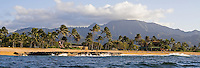Haleiwa Beach Park seen from the ocean, with Mount Ka'ala in the background, North Shore of Oahu
