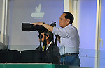 SO KON PO, HONG KONG - JULY 30: Hong Kong Chief Executive Donald Tsang takes pictures using a Nikon camera during the Asia Trophy final match against Chelsea and Aston Villa at the Hong Kong Stadium on July 30, 2011 in So Kon Po, Hong Kong.  Photo by Victor Fraile / The Power of Sport Images