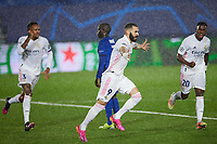 April 27th 2021; Alfredo Di Stefano Stadium, Madrid, Spain;  UEFA Champions League. Karim Benzema of Real Madrid celebrates scoring the equalising goal for 1-1 in the 29th minute with during the Champions League match, semifinals between Real Madrid and Chelsea FC played at Alfredo Di Stefano Stadium