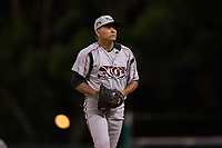 Lake Elsinore Storm relief pitcher Diomar Lopez (34) prepares to deliver a pitch during a California League game against the Modesto Nuts at John Thurman Field on May 12, 2018 in Modesto, California. Lake Elsinore defeated Modesto 4-1. (Zachary Lucy/Four Seam Images)