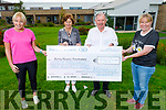 Michelle Greaney and Andrea O'Donoghue giving the sum of €9,300 to the Kerry Hospice's Joe Hennebry and Mary Shanahan on Tuesday from their virtual run that they did in June. L to r: Michelle Greaney, Mary Shanahan, Joe Hennebry and Andrea O'Donoghue
