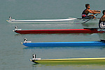 Rowing, FISA World Rowing Championships, Idroscalo Park, Milan, Lombardy, Italy, Europe, 2003, Rowers racing, bows at the start, US men's lightweight quad