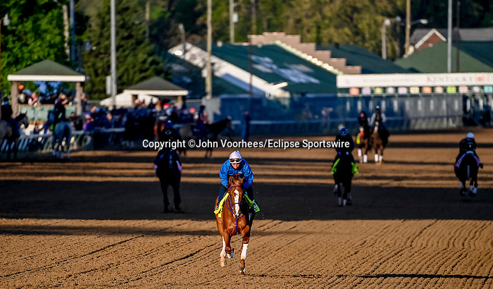 April 27, 2021: King Fury exercises in preparation for the Kentucky Derby at Churchill Downs on April 27, 2021 in Louisville, Kentucky. John Voorhees/Eclipse Sportswire/CSM