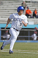 University of Kentucky Wildcats outfielder Austin Cousino #19 at bat during a game against the University of Virginia Cavaliers at Brooks Field on the campus of the University of North Carolina at Wilmington on February 14, 2014 in Wilmington, North Carolina. Kentucky defeated Virginia by the score of 8-3. (Robert Gurganus/Four Seam Images)