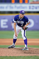 High Point Panthers starting pitcher Trevor Holloway (4) looks to his catcher for the sign against the NJIT Highlanders during game two of a double-header at Williard Stadium on February 18, 2017 in High Point, North Carolina.  The Highlanders defeated the Panthers 4-2.  (Brian Westerholt/Four Seam Images)