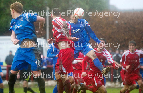 Brechin v St Johnstone....12.03.11  Scottish Cup Quarter Final.Danny Invincibile heads the ball in to make it 2-1 to saints.Picture by Graeme Hart..Copyright Perthshire Picture Agency.Tel: 01738 623350  Mobile: 07990 594431