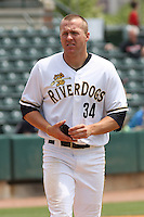 Luke Murton #34 of the Charleston RiverDogs in the field between innings during a game against the Rome Braves on April 27, 2010 in Charleston, SC.