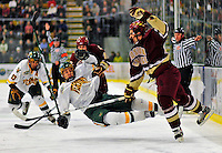 10 January 2009: Boston College Eagles' defenseman Nick Petrecki (right), a Sophomore from Clifton Park, NY, collides with University of Vermont Catamount defenseman Kyle Medvec, a Sophomore from Burnsville, MN, during the second game of a weekend series at Gutterson Fieldhouse in Burlington, Vermont. The Catamounts rallied from an early 2-0 deficit to defeat the visiting Eagles 4-2. Mandatory Photo Credit: Ed Wolfstein Photo