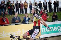 race winner Sanne Cant (BEL/BKCP-Powerplus) crossing the finish line<br /> <br /> GP Zonhoven 2014