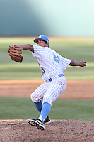 Moises Ceja #40 of the UCLA Bruins pitches against the Cal Poly Mustangs at Jackie Robinson Stadium on February 22, 2014 in Los Angeles, California. Cal Poly defeated UCLA, 8-0. (Larry Goren/Four Seam Images)