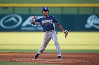 AZL Padres 1 shortstop CJ Abrams (8) throws to first base during an Arizona League game against the AZL Cubs 1 on July 5, 2019 at Sloan Park in Mesa, Arizona. The AZL Cubs 1 defeated the AZL Padres 1 9-3. (Zachary Lucy/Four Seam Images)
