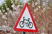 Cycle lane sign, West Hampstead, London.