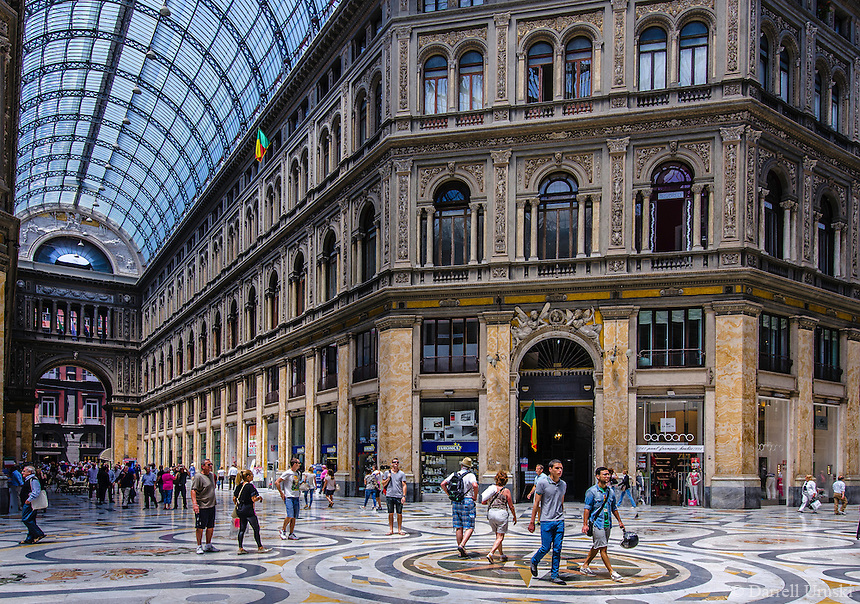 Travel Art Print Photograph of the Galleria Umberto I In the City of Naples. The street is covered by an arching glass and cast iron roof, a popular design for 19th-century arcades.<br />