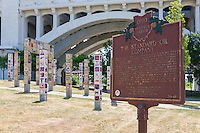The Standard Oil Company historical marker marks the site of Rockefeller's first refinery in Cleveland, Ohio.  The marker, along with the Unity Walk art installation, is in Settler's Landing Park in the Flats.