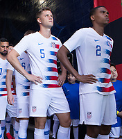 CARSON, CA - FEBRUARY 1: Walker Zimmerman #5, Reggie Cannon #2 and USMNT wait in the tunnel during a game between Costa Rica and USMNT at Dignity Health Sports Park on February 1, 2020 in Carson, California.