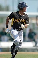 Pittsburgh Pirates outfielder Michael de la cruz (62) during an Instructional League game against the New York Yankees on September 18, 2014 at the Pirate City in Bradenton, Florida.  (Mike Janes/Four Seam Images)
