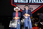 Lyvan Gonzales, Tristan Leger, during the Team Roping Back Number Presentation at the Junior World Finals. Photo by Andy Watson. Written permission must be obtained to use this photo in any manner.