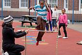 Children's high jump at Fisherton Estate street party, London