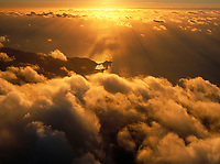 aerial photograph of clouds and crepuscular rays at the Pacific coast, San Mateo county, California