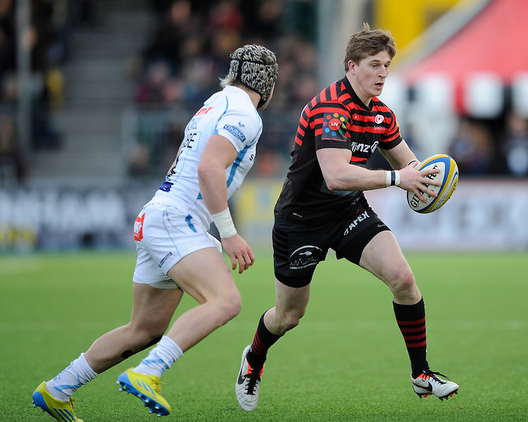 20130216 Copyright onEdition 2013©.Free for editorial use image, please credit: onEdition..David Strettle of Saracens  in action during the Premiership Rugby match between Saracens and Exeter Chiefs at Allianz Park on Saturday 16th February 2013 (Photo by Rob Munro)..For press contacts contact: Sam Feasey at brandRapport on M: +44 (0)7717 757114 E: SFeasey@brand-rapport.com..If you require a higher resolution image or you have any other onEdition photographic enquiries, please contact onEdition on 0845 900 2 900 or email info@onEdition.com.This image is copyright onEdition 2013©..This image has been supplied by onEdition and must be credited onEdition. The author is asserting his full Moral rights in relation to the publication of this image. Rights for onward transmission of any image or file is not granted or implied. Changing or deleting Copyright information is illegal as specified in the Copyright, Design and Patents Act 1988. If you are in any way unsure of your right to publish this image please contact onEdition on 0845 900 2 900 or email info@onEdition.com