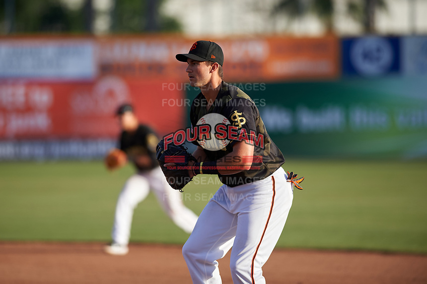 San Jose Giants first baseman Gio Brusa (17) during a California League game against the Visalia Rawhide on April 13, 2019 at San Jose Municipal Stadium in San Jose, California. Visalia defeated San Jose 4-2. (Zachary Lucy/Four Seam Images)