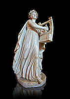 Roman statue of Apollo with a lyre, copied from an earlier 4th cebtury BC Hellenistic statue, from a group of Muses found in Villa de Cassius at Tivoli,  inv 310, Vatican Museum Rome, Italy,  white background