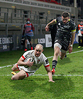 2nd January 2021 | Ulster vs Munster <br /> <br /> Matt Faddes scores Ulster's first try during the PRO14 Round 10 clash between Ulster Rugby and Munster Rugby at the Kingspan Stadium, Ravenhill Park, Belfast, Northern Ireland. Photo by John Dickson/Dicksondigital