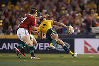 MELBOURNE, 29 JUNE 2013 - Israel FOLAU of the Wallabies passes the ball during the Second Test match between the Australian Wallabies and the British & Irish Lions at Etihad Stadium on 29 June 2013 in Melbourne, Australia. (Photo Sydney Low / sydlow.com)