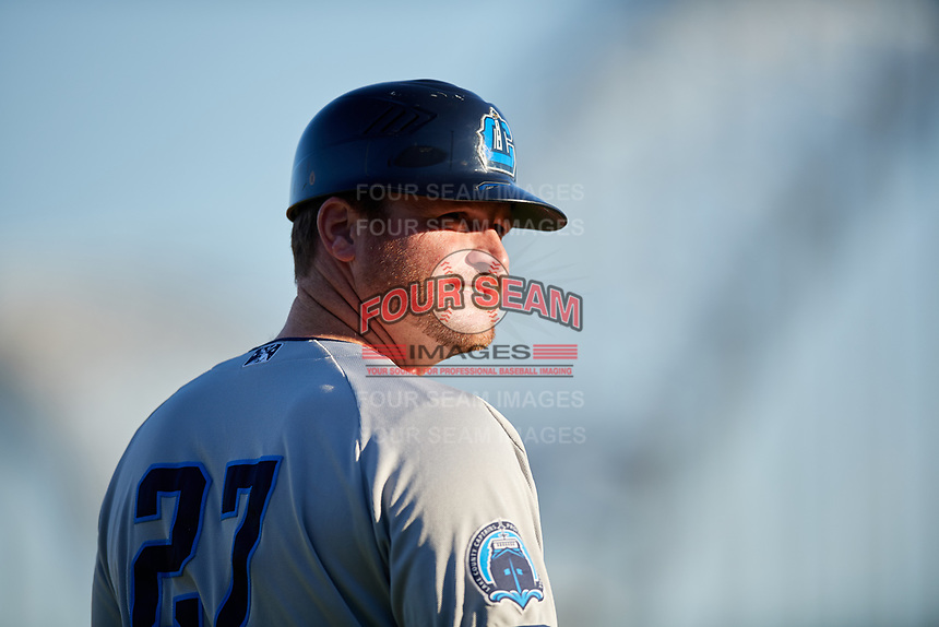 Lake County Captains manager Larry Day (27) during a game against the Quad Cities River Bandits on May 6, 2017 at Modern Woodmen Park in Davenport, Iowa.  Lake County defeated Quad Cities 13-3.  (Mike Janes/Four Seam Images)