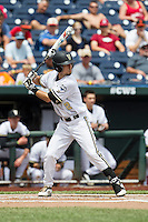 Vanderbilt Commodores second baseman Tyler Campbell (2) at bat during the NCAA College baseball World Series against the Cal State Fullerton Titans on June 15, 2015 at TD Ameritrade Park in Omaha, Nebraska. Vanderbilt beat Cal State Fullerton 4-3. (Andrew Woolley/Four Seam Images)