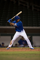 AZL Cubs 1 left fielder Yovanny Cuevas (21) at bat during an Arizona League game against the AZL Cubs 1 at Sloan Park on June 28, 2018 in Mesa, Arizona. The AZL Athletics defeated the AZL Cubs 1 5-4. (Zachary Lucy/Four Seam Images)