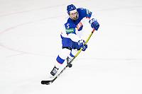 23rd May 2021, Riga Olympic Sports Centre Latvia; 2021 IIHF Ice hockey, Eishockey World Championship, Great Britain versus Slovakia;  5 Simon Nemec Slovakia first pass Riga Riga Latvia
