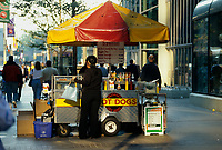 File Photo, Montreal (Qc) CANADA - EXCLUSIVE PHOTO.Hot dog cart in downtown Toronto.Photo :  by Pierre Roussel/ IMAGES DISTRIBUTION