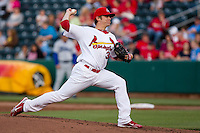 Michael Blazek (33) of the Springfield Cardinals delivers a pitch during a game against the Tulsa Drillers on April 29, 2011 at Hammons Field in Springfield, Missouri.  Photo By David Welker/Four Seam Images.