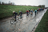 Luke Durbridge in front of the Peloton on the 'Holleweg' cobbles. <br /> <br /> 71st Kuurne-Brussel-Kuurne (2019)<br /> Kuurne > Kuurne 201km (BEL)<br /> <br /> ©kramon