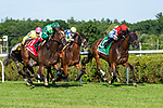 Sistercharlie (no. 1) wins the Diana Stakes (Grade 1) for fillies and mares July 21 at Saratoga Race Course, Saratoga Springs, NY.  The winner, ridden by John Velazquez and trained by Chad Brown caught Ultra Brat (no. 5) in deep stretch to win by  a nose in the 1 3/8 mile turf race against 6 opponents.  (Robert Simmons/Eclipse Sportswire)